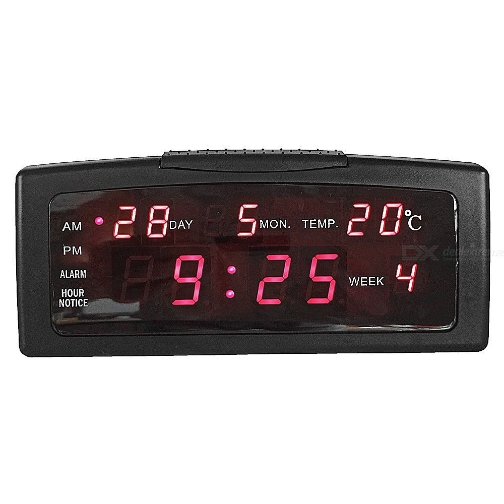 Desktop Large Screen LED Clock with AM / PM / HOUR NOTICE / DAY / MON / TEMP / WEEK 100-240V