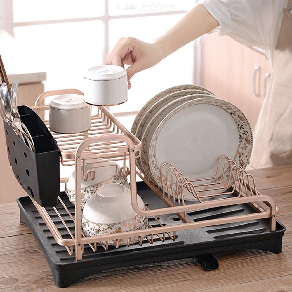 Smartloc 2 Tier Aluminium Alloy Dish Rack Kitchen Organizer Storage Drainer Drying Plate Shelf Sink Supply Knife Fork Container
