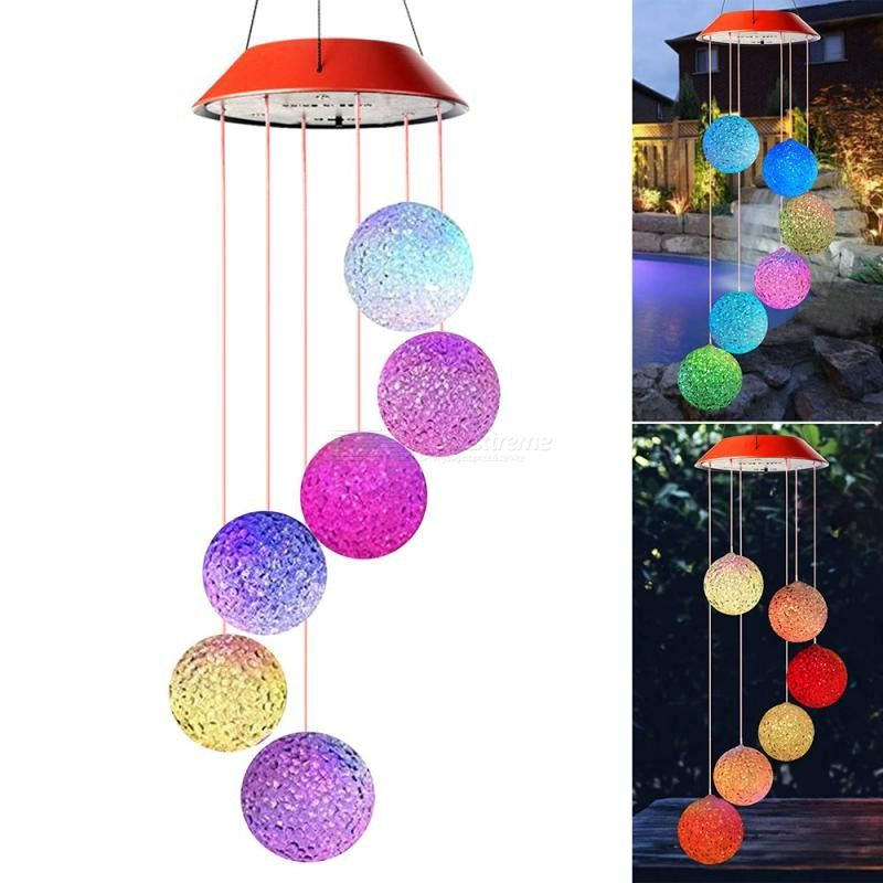 DH Outdoor Garden Solar LED Light Color Changing Wind Chime Lights Holiday Decoration lights