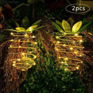 DH Outdoor Garden Light Solar Iron Pineapple Light Waterproof 24LED Light Garden Decoration Landscape Light (2pcs)