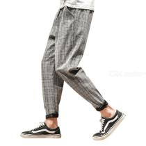 Mens Plaid Pants Retro Style Casual Loose Pants With Tapered Leg