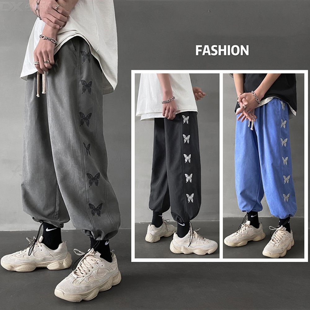 Mens Casual Sweatpants Stylish Loose-Fit Ankle Length Pants With Butterfly Appliques