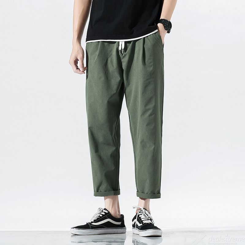 Mens Casual Pants Loose-Fitting Straight Fit Ankle Length Harem Pants