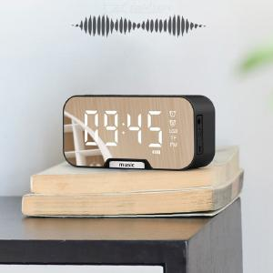 Portable Bluetooth Speaker Clock Super Bass Wireless Stereo Speakers Support TF AUX mirror Alarm Clock Mirror for Phone Computer