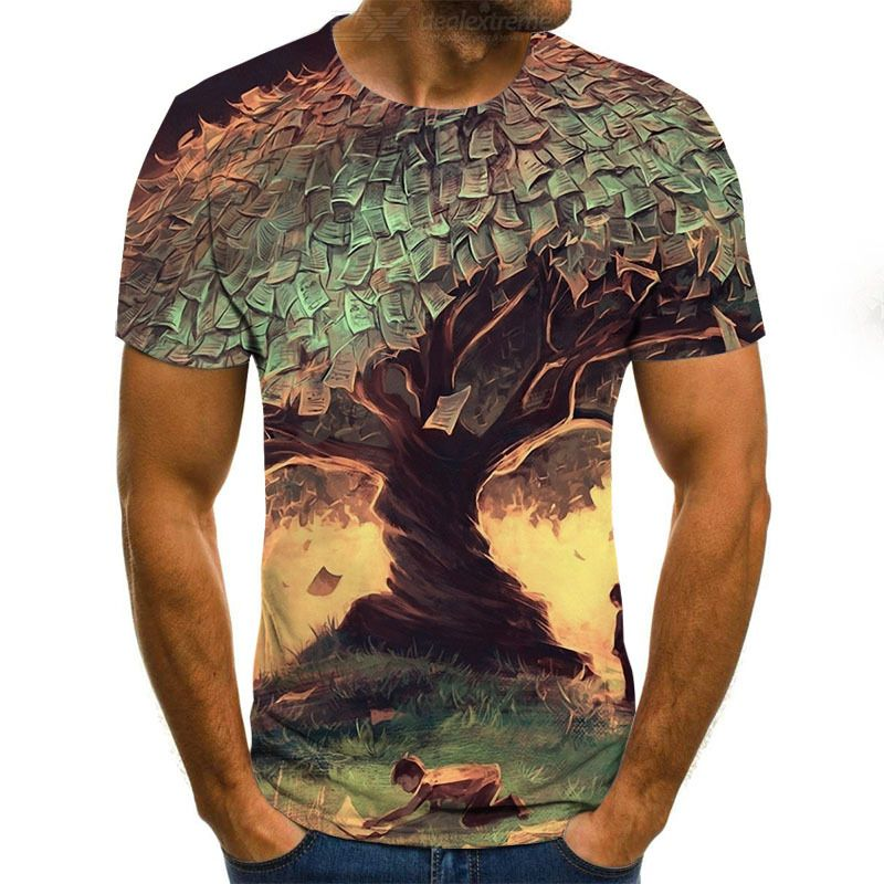 Men's T-shirt Summer Fashionable Casual 3D Digital Printing Round Neck Short Sleeve T-shirt Top