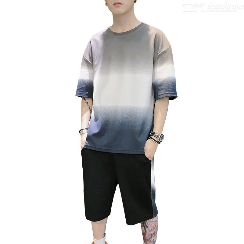 Summer Casual Mens Set Loose Color Patchwork Two Piece Set