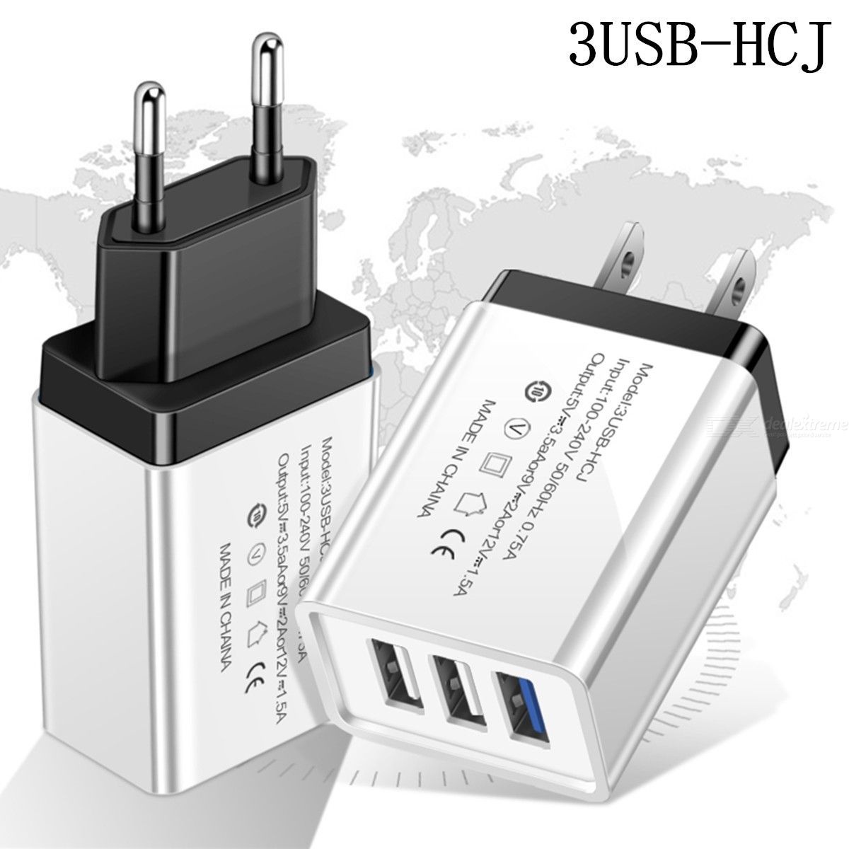 Dealextreme / 3 USB Phone Wall Charger Home Digital Smart Tablet universal Travel Charger EU/ US Standard AC100-240