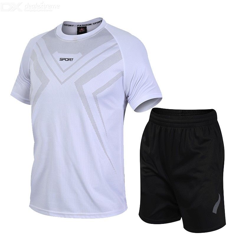 Men Sportswear Breathable Short Sleeve Shirts And Shorts Loose Fit Athlete Workout Summer Suit (6 Color)