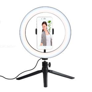 10.23 inch Adjustable LED Beauty Light Refilling Lamp with Mobile Phone Stand for Smartphones