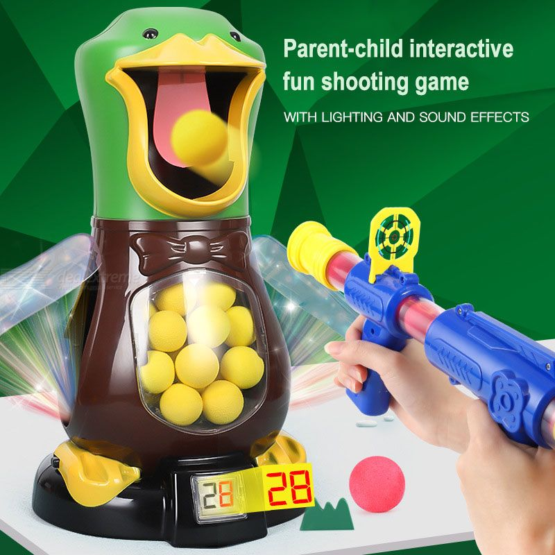 Duck Shooting Toys For Kids Target Shooting Games With Air Pump Gun, Party Toys With LCD Score Record, Sound, Light