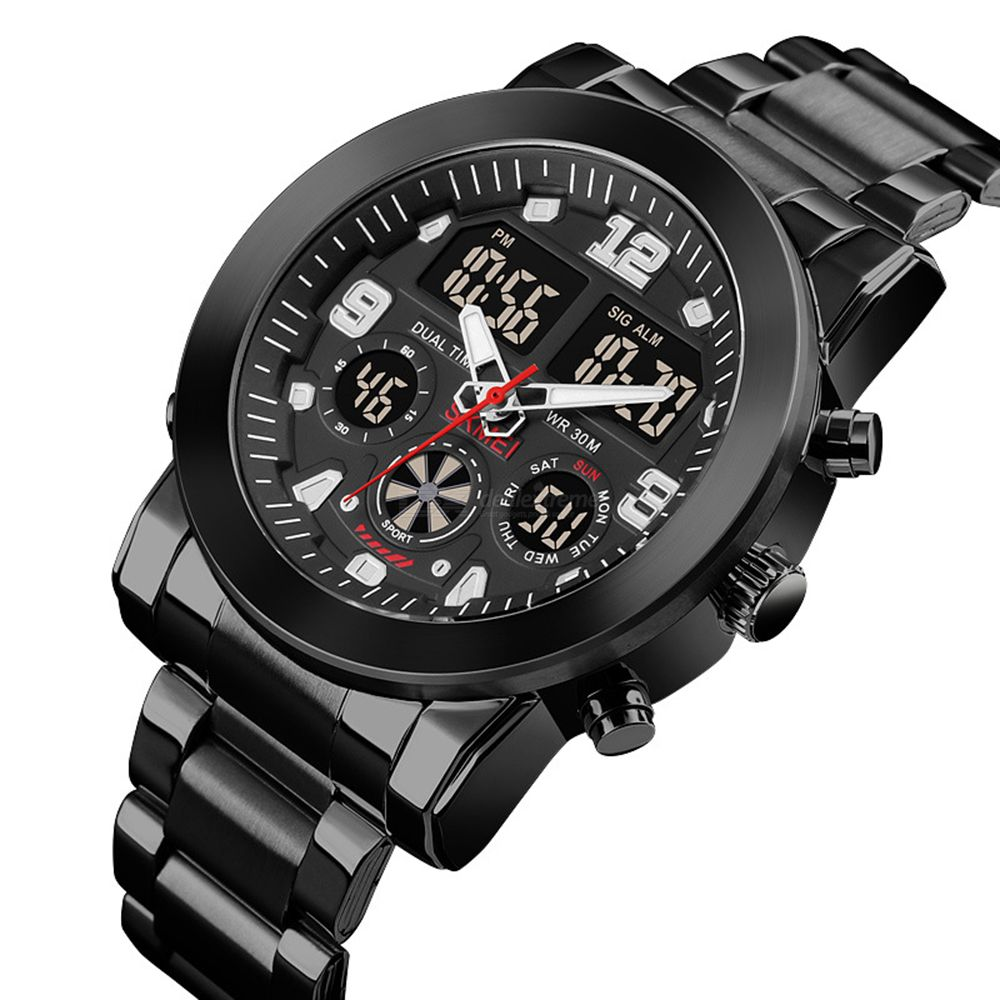 Mens Stainless Steel Wristwatch Business Dress Digital Watch With Separate Dials Backlit
