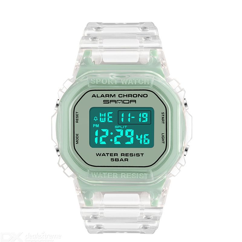 Women Digital Sports Watch Multifunctional Wristwatch With Transparent Band