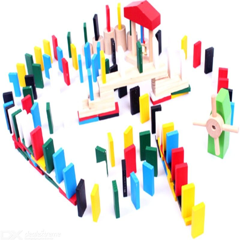 Wooden Domino Building Blocks Childrens Early Educational Toys
