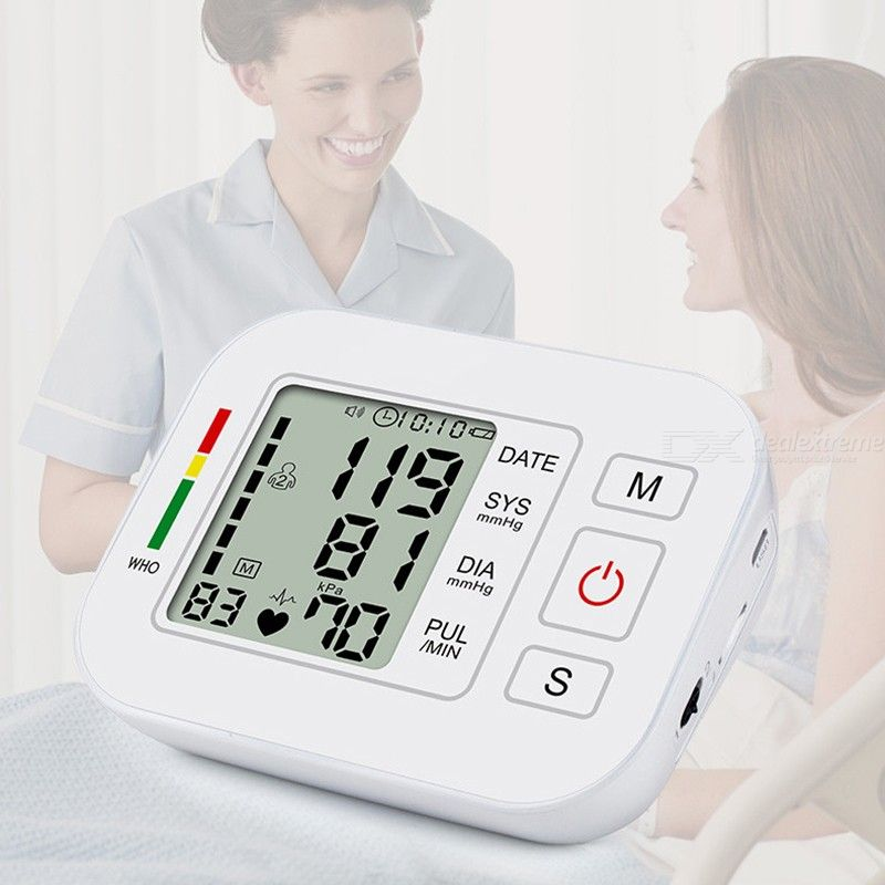 Arm Type Blood Pressure Monitor Voice LCD BP Meter with 99 Memory Records
