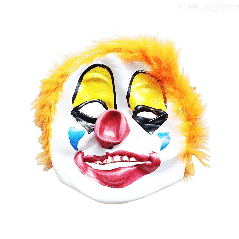 Orange Hair Clown Mask Creepy Scary Clown Mask for Halloween Parties