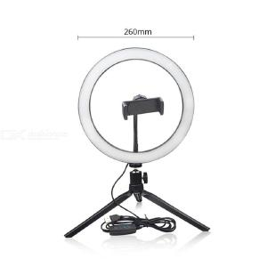 26cm LED Ring Light Selfie Ring Lamp with 3 Colors Lights Tripods