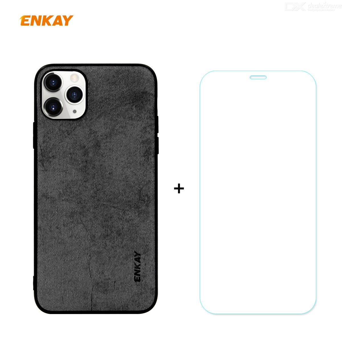 ENKAY Hat-Prince PU + TPU Soft Back Cover + 9H 2.5D Arc Edge Tempered Glass Screen Protector for iPhone 11 Pro