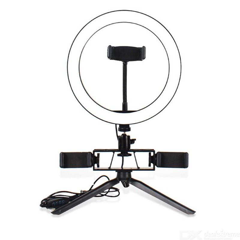 26cm Ringlight LED Selfie Ring Light with 3 Colors 10 Brightness Levels 3 Phone Holders Tripod