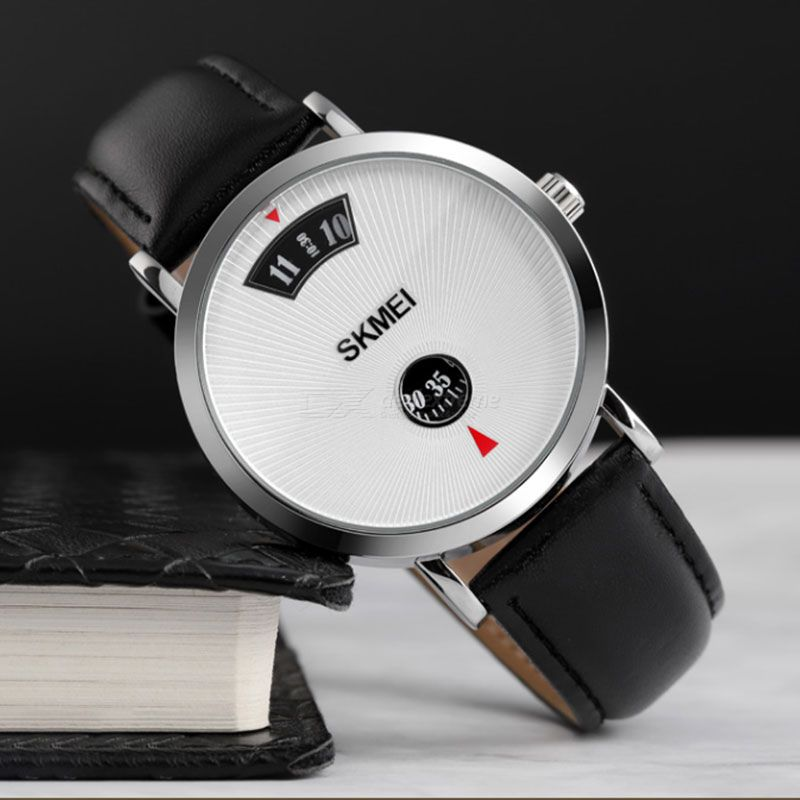 Skmei 1489 Simple Casual Mens Quartz Watch Luxury Waterproof Stainless Steel/Leather Business Male Wristwatches