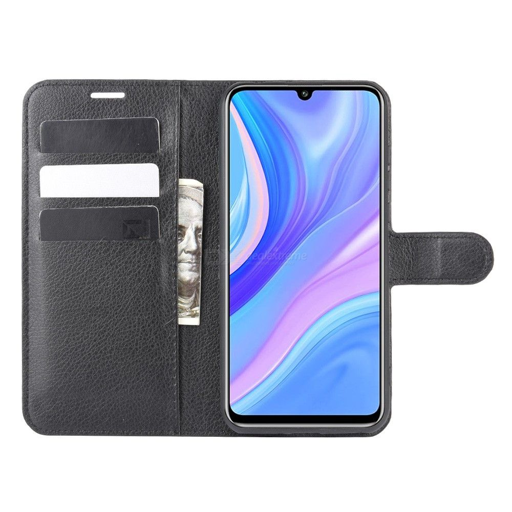 CHUMDIY Lichee Pattern PU Leather Phone Wallet Case with Card Pocket for Huawei Y8P / Enjoy 10S