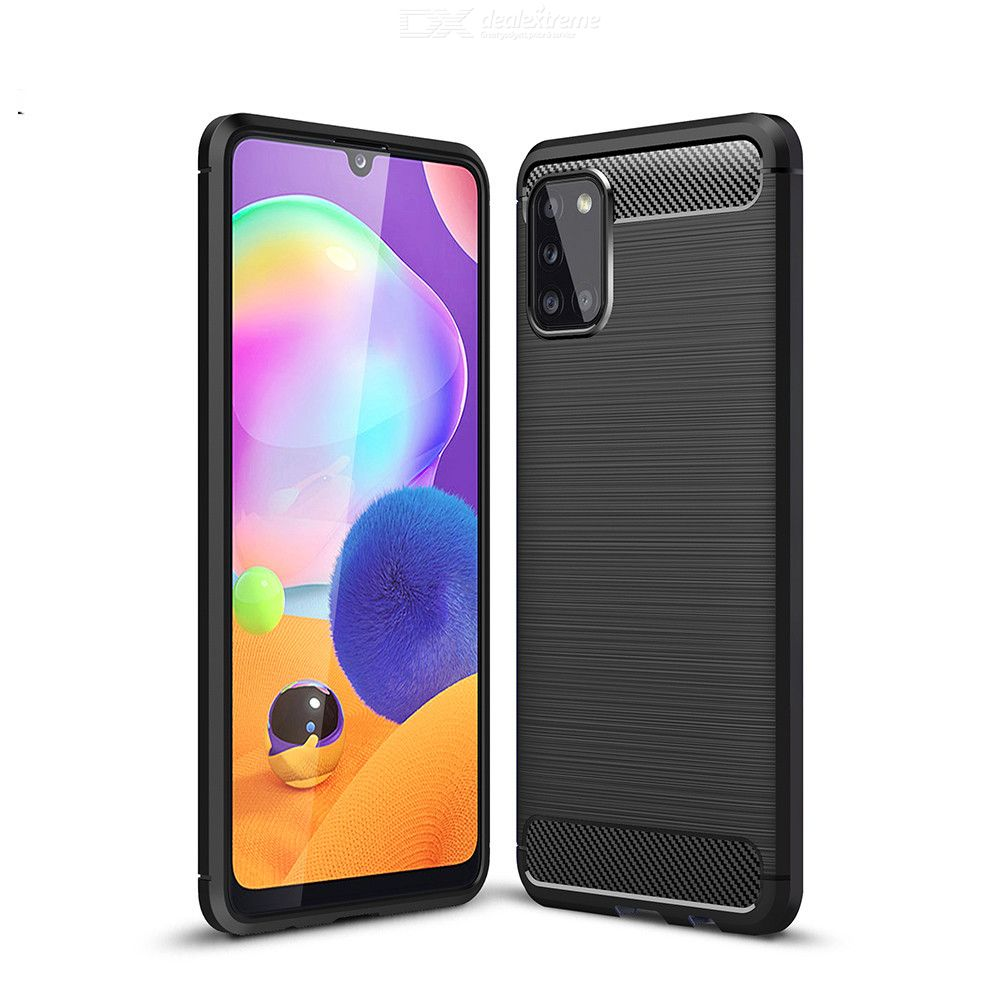 Naxtop Carbon Fiber Brushed Soft TPU Cover Non-Slip Protective Phone Case For Samsung Galaxy A21S / A11 / A31 / A41