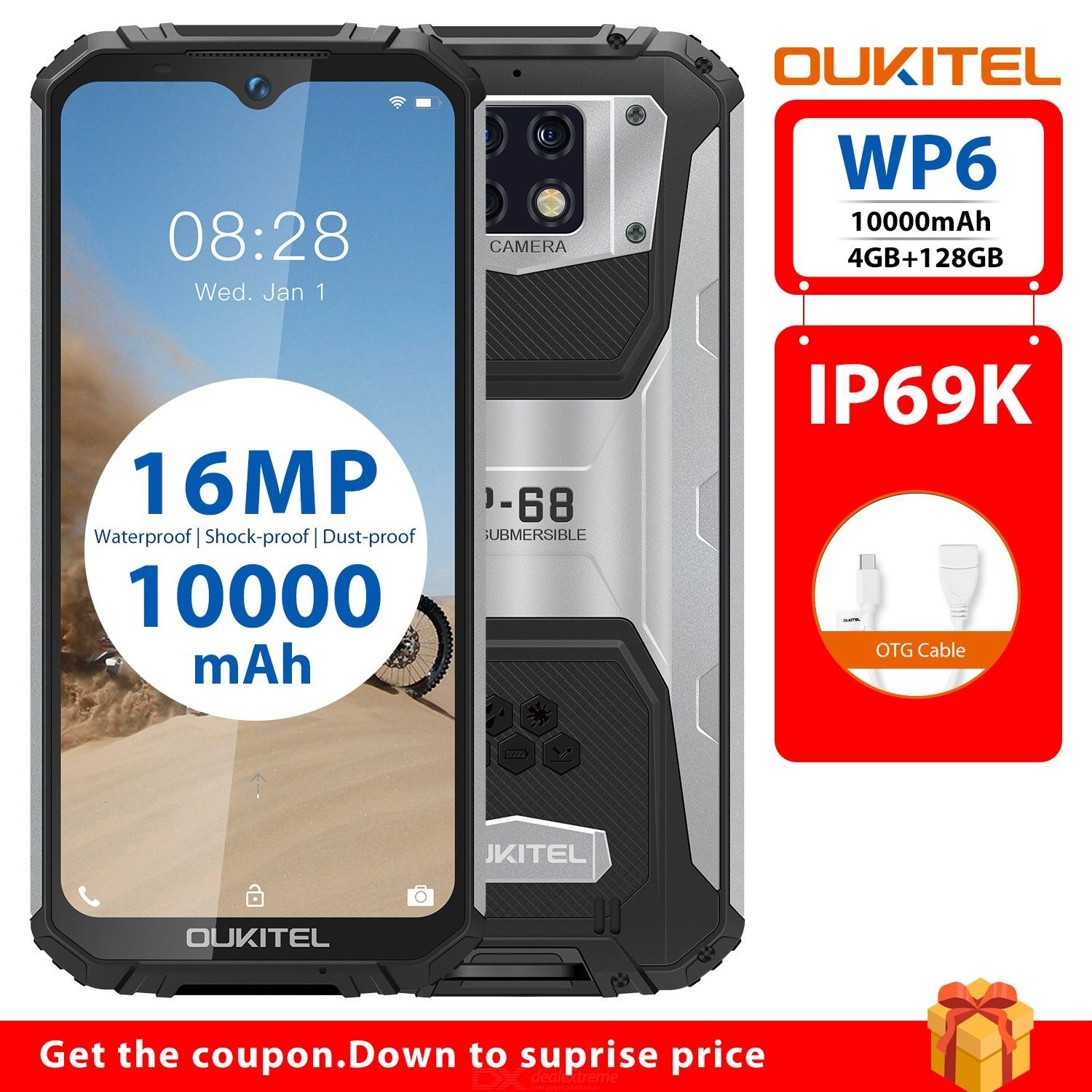Oukitel WP6 (lower) 6.3-inch 4+128G MT6771T 2.0 8-core standard smartphone
