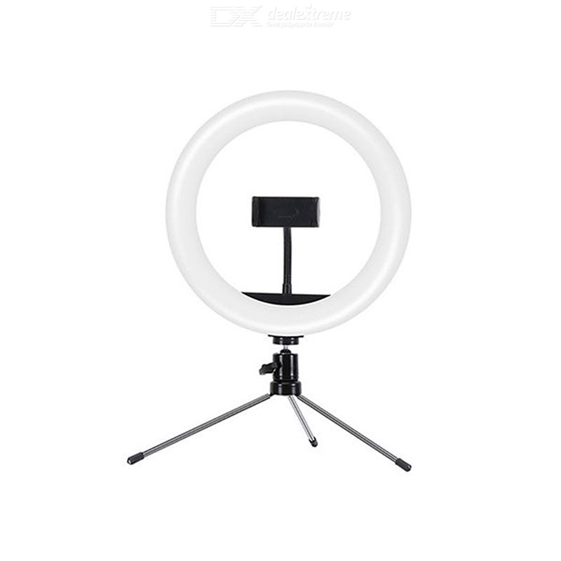10 Inch Selfie Ring Light With Tripod Tabletop Phone Holder With Refill Light 10 Brightness Levels 3 Color Lights