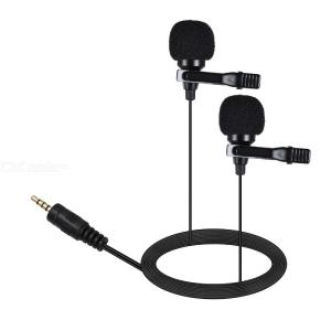 Dual-Head Clip on Lapel Microphone Lavalier Omnidirectional Condenser Recording Mic for iPhone Sumsang DSLR Camera Phone