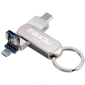 Maikou 512GB USB Flash Drive, 3-In-1 Type-C USB 3.0 Micro USB Flash Memory Stick OTG U Disk For Phone/Tablet/PC