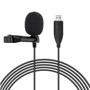 USB Lavalier Microphone Clip on Collar Condenser Lapel Mic Microphone for PC Desktop Computer Smart Phones