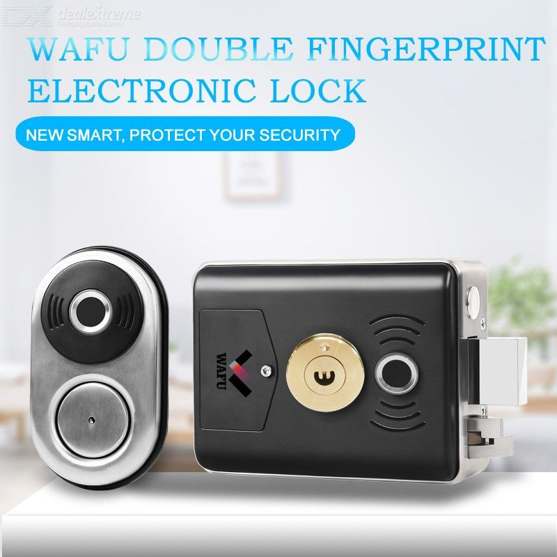 WAFU Smart Double Fingerprint Lock Stainless Steel Electric Lock Door Entry Intelligent Lock Low Power Reminder Smart Home Villa
