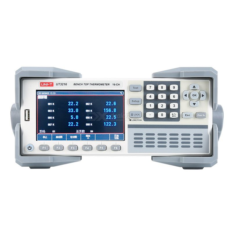 UNI-T UT3208/3216 Multi-channel Temperature Tester Contact Type 8G U Disk 4.3 Inch RS-232C/USB Device SCPI USB Host Interface