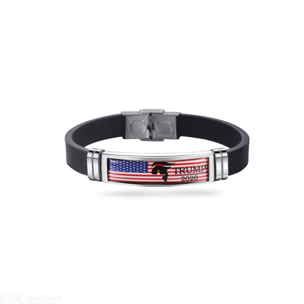 Donald Trump Stainless Steel Wrist Band Silicone Bracelets American Flag Print Wrist Band Letter Print Bracelet