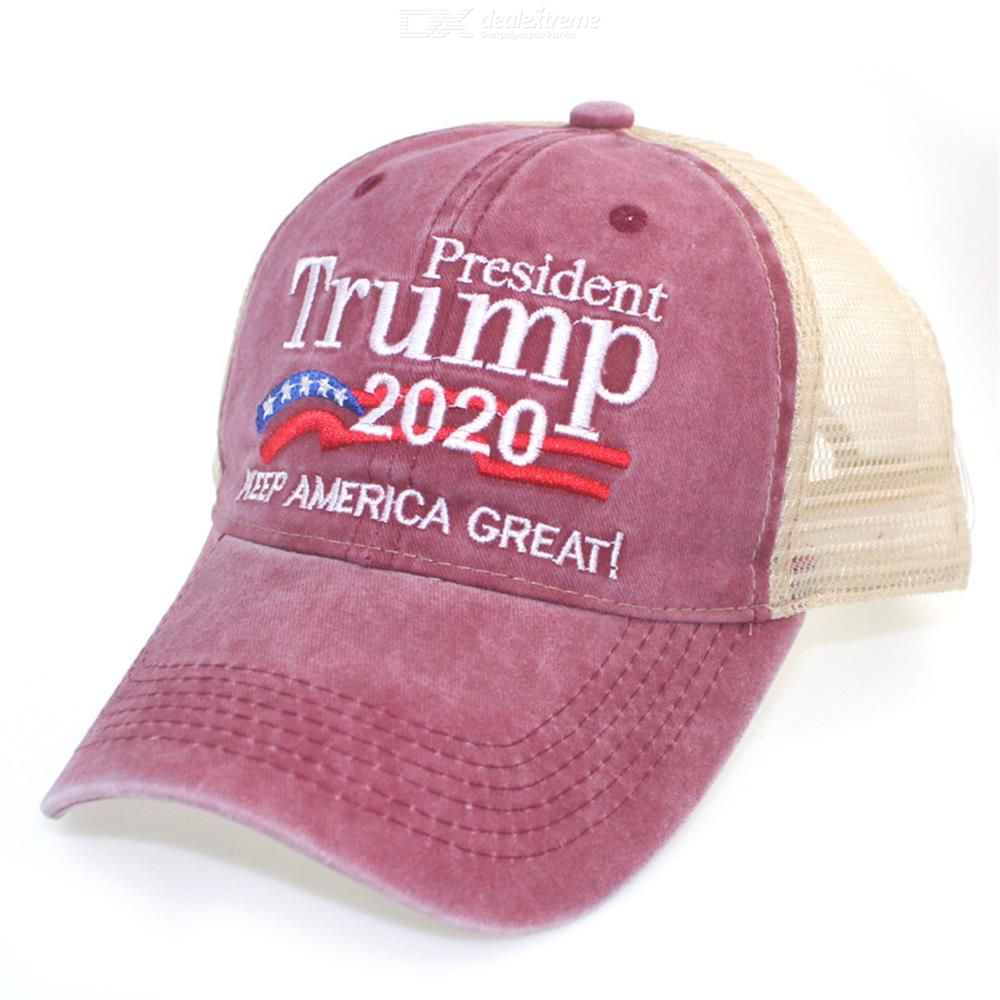 Casual Washed Mesh Cap Drivers Caps Breathable Net Cap Duck Tongue Embroidery Baseball Hat Trump American Election 2020
