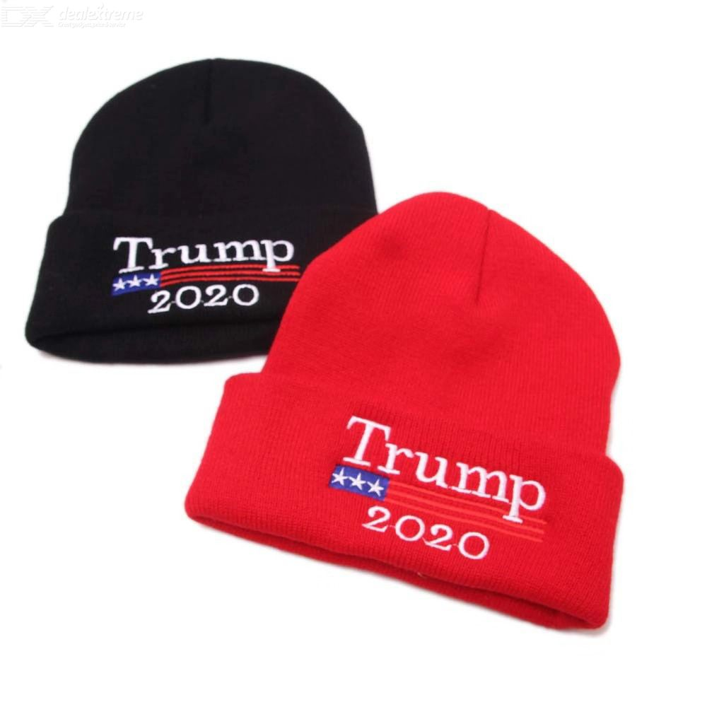 Trump-style Wool Knit Hat Embroidery Beanie Warm Sleeve Cap Letter Print Hat 2020