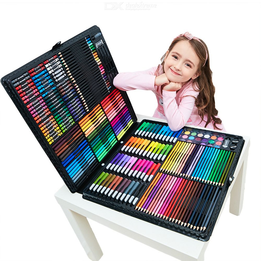 HUIJIE Painting Set 258 Items Color Lead Watercolor Pen Watercolor Paints Oil Pastel For Children