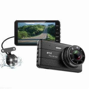 Dash cam 4 inch IPS HD 1080P dual camera front + rear Reversing record T682