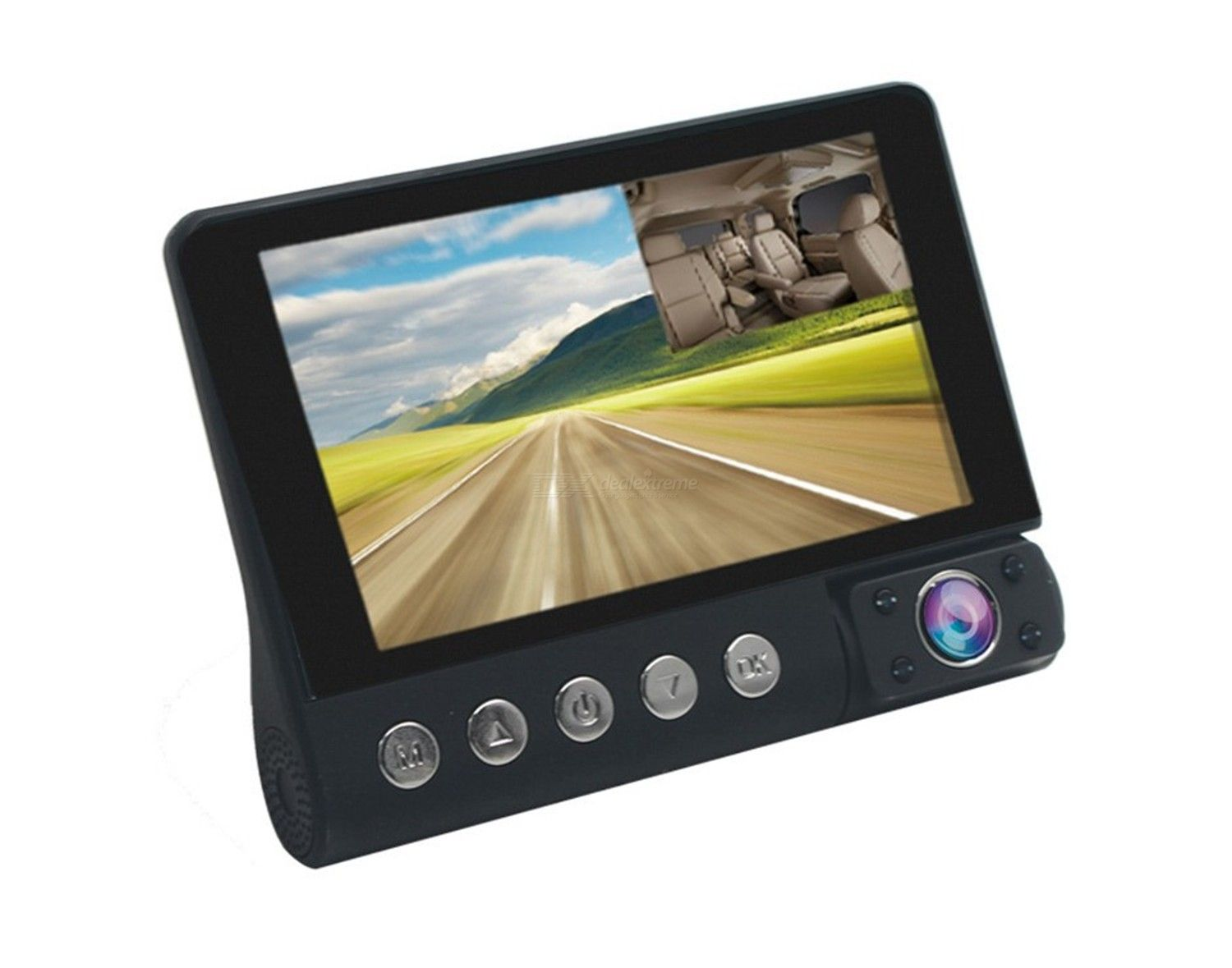 New type of 4-inch three way vehicle interior and exterior high-definition C9 three lens front and rear 3 recording reversining