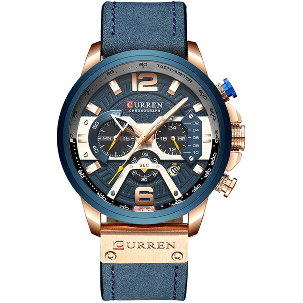 Curren Waterproof Watches For Men Fashion Round Dial Wristwatch Multi-functional Six-needle Big Dial Watch Genuine Leather Strap