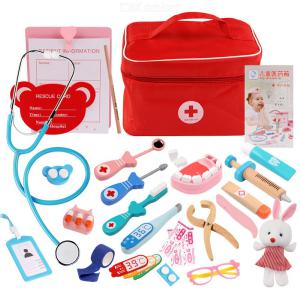 Wood Pretend Medical Tools Children Doctor Toys  Kids Doctor Bags Stethoscope Thermometer Syringe Tooth Toys