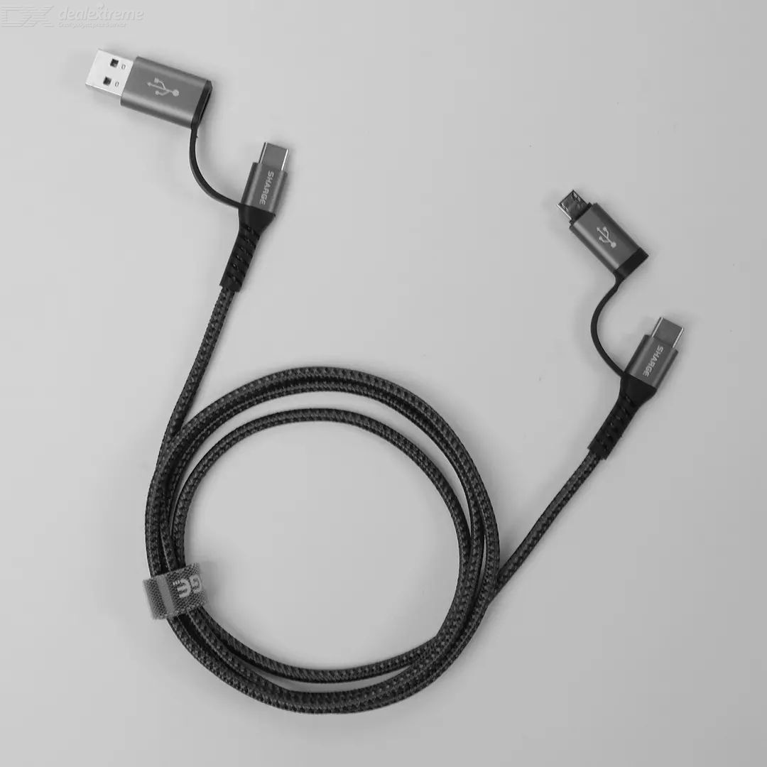 Youpin Sharge Four-in-one Braided Data Cable Data Transmission 3A Fast Charging Cable Dual-head Four Interfaces