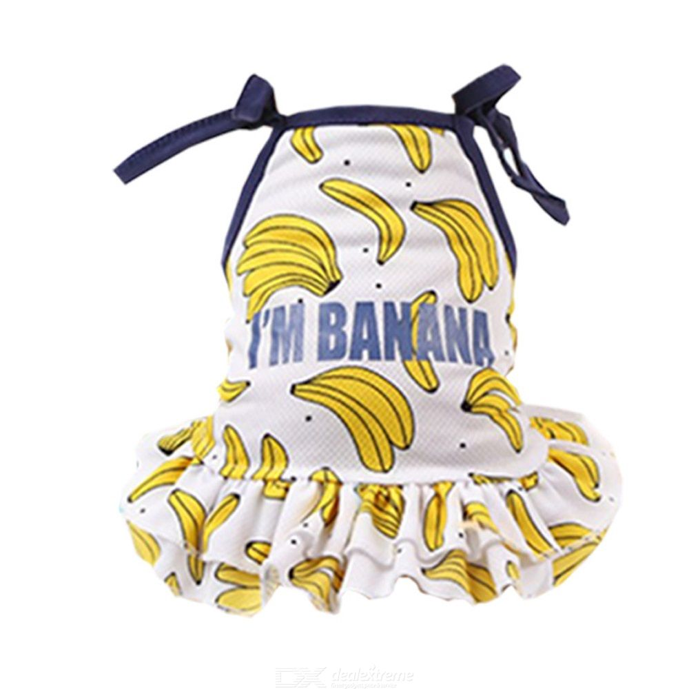 Dog Jumper Skirt Lightweight Breathable Clothes For Teddy Dog Summer Sunscreen Puppy Costume Fruit Print Dogs Skirt