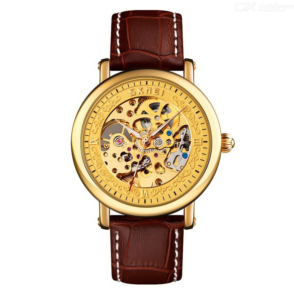 Skmei 9229 Automatic Watch Leather Strap Stainless Steel Buckle Waterproof Scratch Resistant Luxury Business For Men