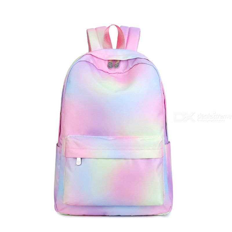 Waterproof Backpack For Schoolgirls Casual Gradient Backpack Color-block Fashion Laptop Bags Portable Zippered Travel Bags