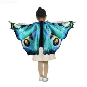 Butterfly Wings Simulation Cover-ups For Kids Butterfly Cape For Halloween Costume Beach Towel Cap Realistic Butterfly Wings