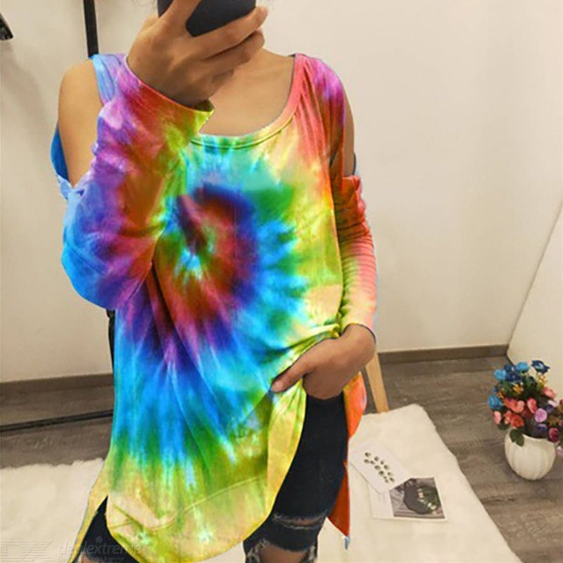 Women Tie-dye Long-sleeve T Shirt Loose Bare- Shoulders Long Tops Spiral Print T Shirts Rainbow Blockcolor Fashion Tees