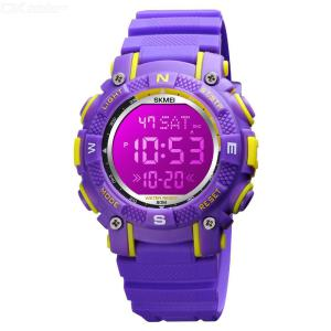 SKMEI 1613 Digital Watch Waterproof LED Light Alarm PU Strap Stainless Steel Buckle For Kids