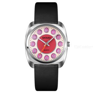 SKMEI Q029 Fashion Women Quartz Watch Waterproof Leather Strap Dress Gift Clock