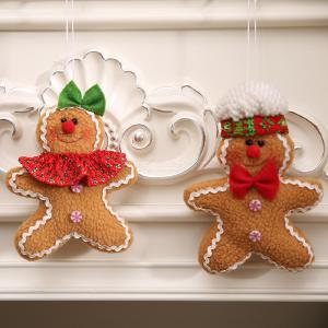 Christmas Gingerbread Man Ornaments Xmas Tree Decorations Fabric Five-star Doll Pendant For Christmas