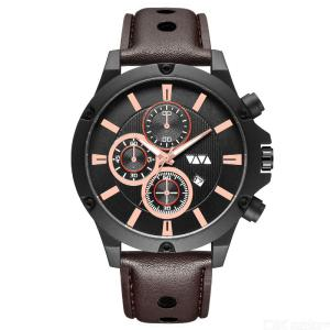 VAVA VOOM VA-202 Quartz Watch Waterproof Leather Strap Sweat Resistant Wearable Buckle For Men